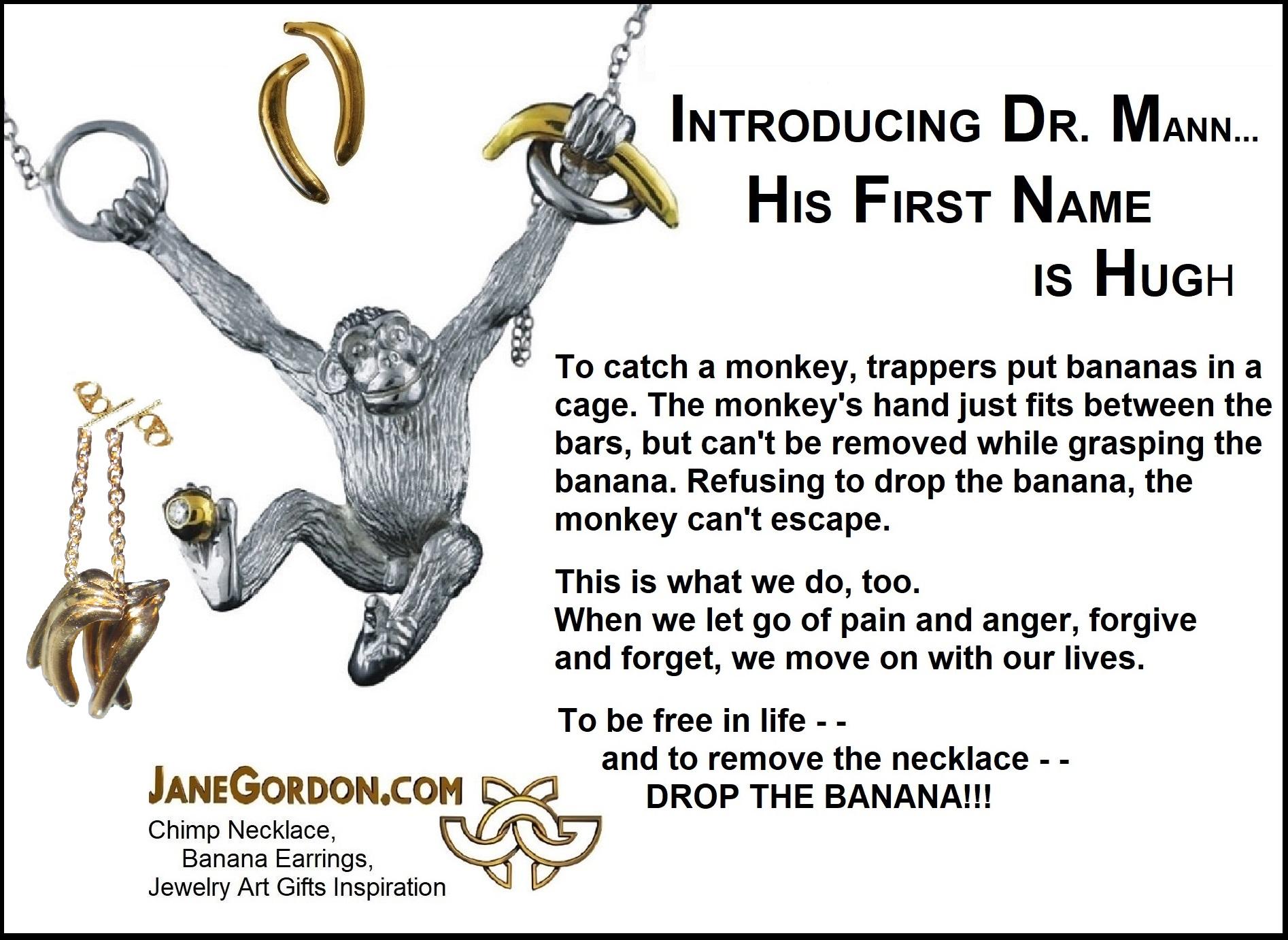 Drop the Banana-Chose Happiness-Chimp Monkey Necklace-Jane Gordon Jewelry