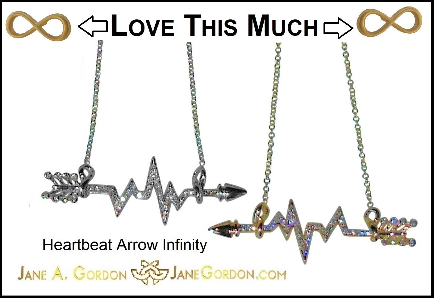 Heartbeat Arrow Infinity Necklace-Silver Gold Diamonds-Jane Gordon Jewelry